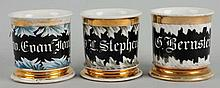 Lot of 3: Cracked Ice/Frosted Shaving Mugs.