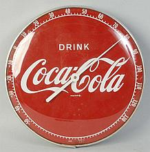 Round Coca-Cola Advertising Thermometer.
