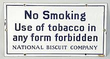 No Smoking Porcelain Sign.