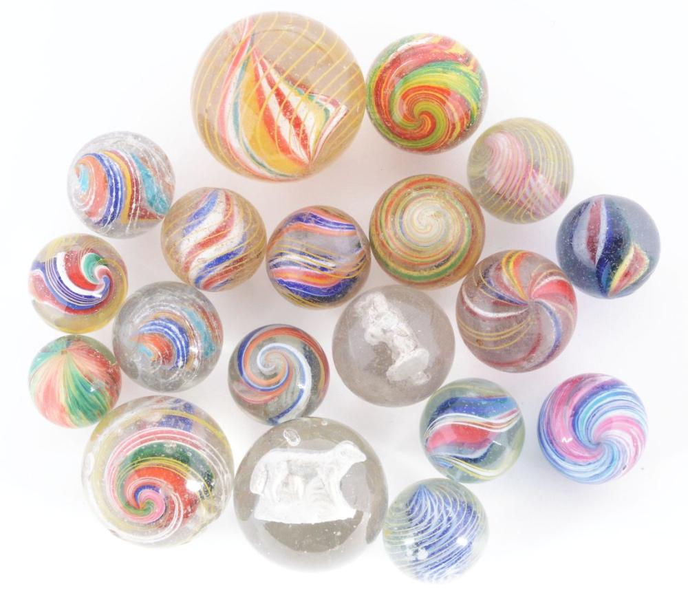 Lot of 19: Group of Marbles.