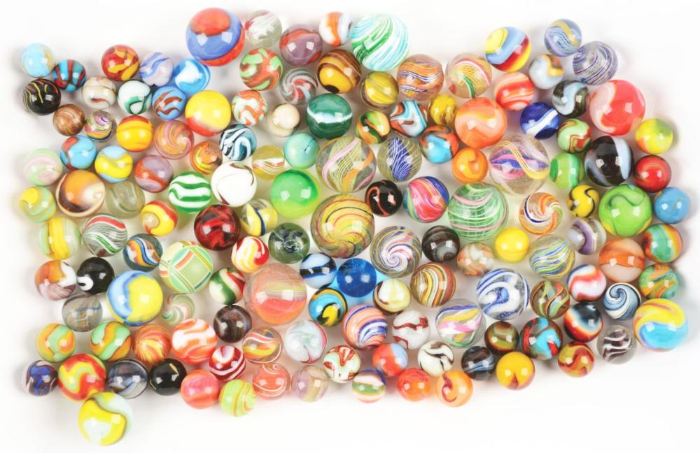 Large Assortment of Handmade and Machine Made Marbles.