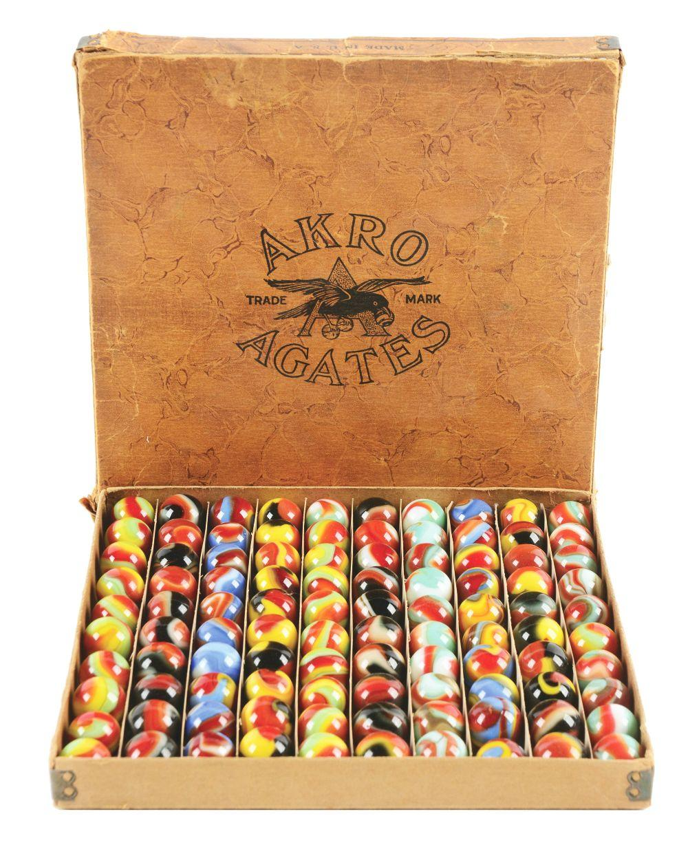 Akro Agate Marbles No.1 Box.