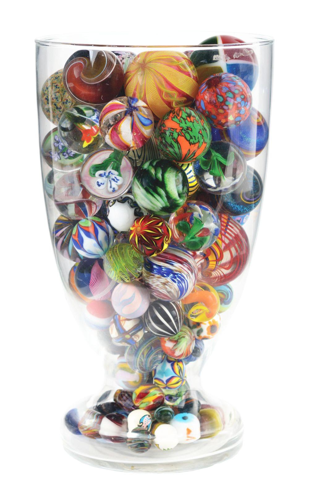 Jar Full of Contemporary Marbles.