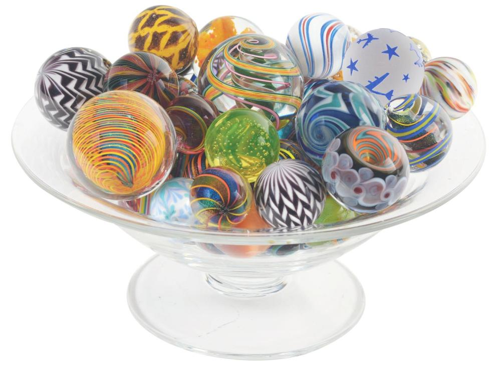 Bowl of Contemporary Marbles.