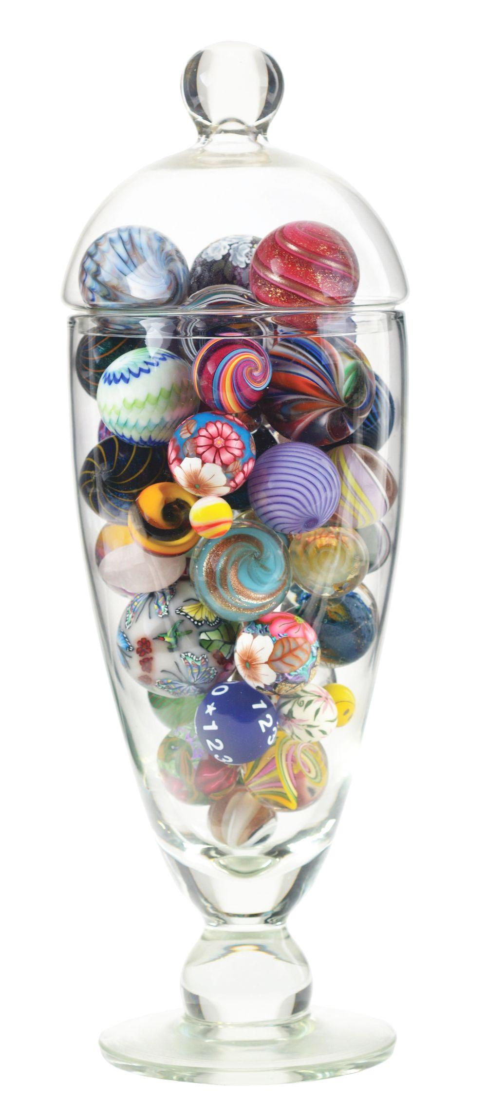 Vase of Assorted Marbles.
