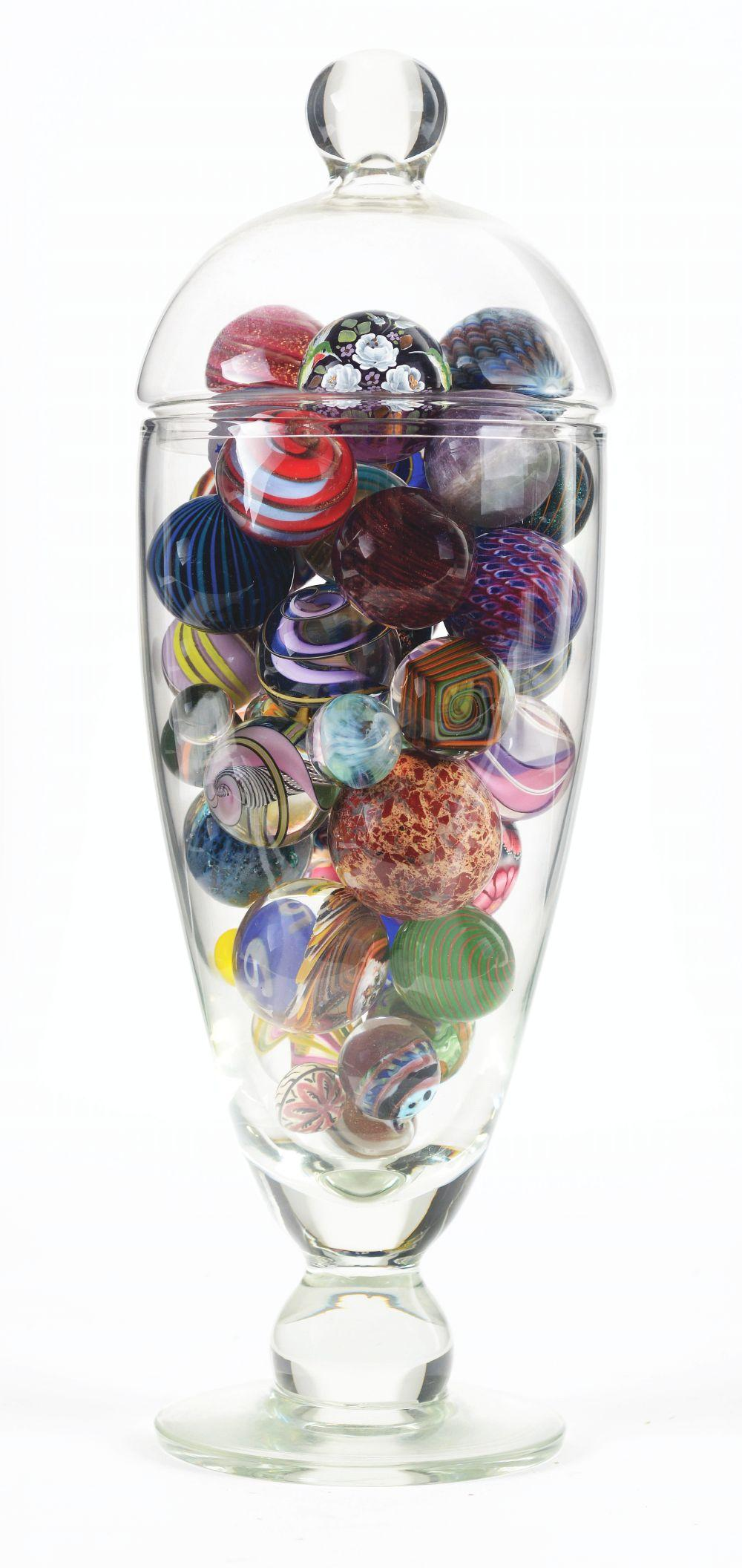 Lot 2014: Vase of Assorted Marbles.