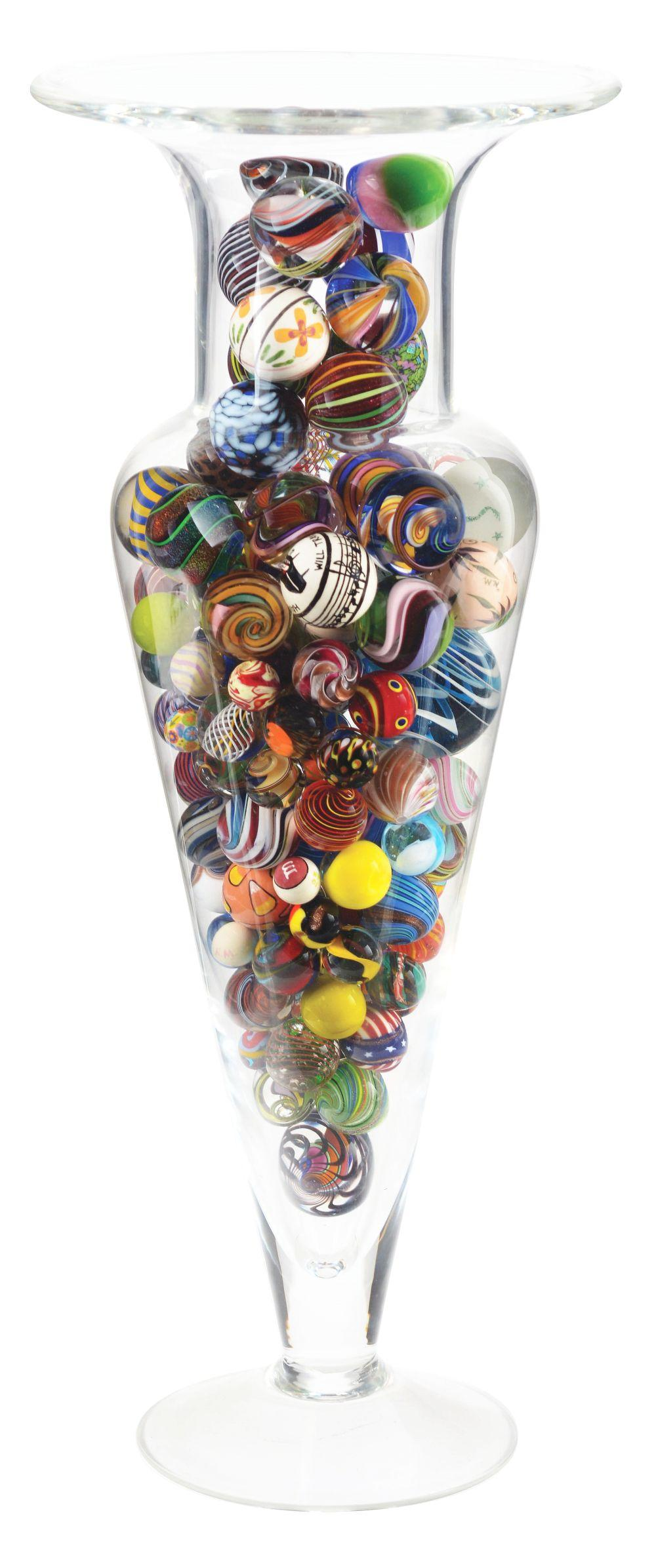 Large Vase of Assorted Modern Marbles.