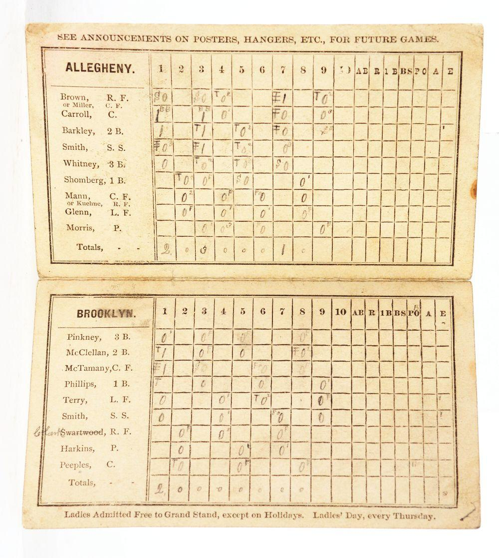 Lot 2029: Very Early Allegheny Baseball Club Scorecard.