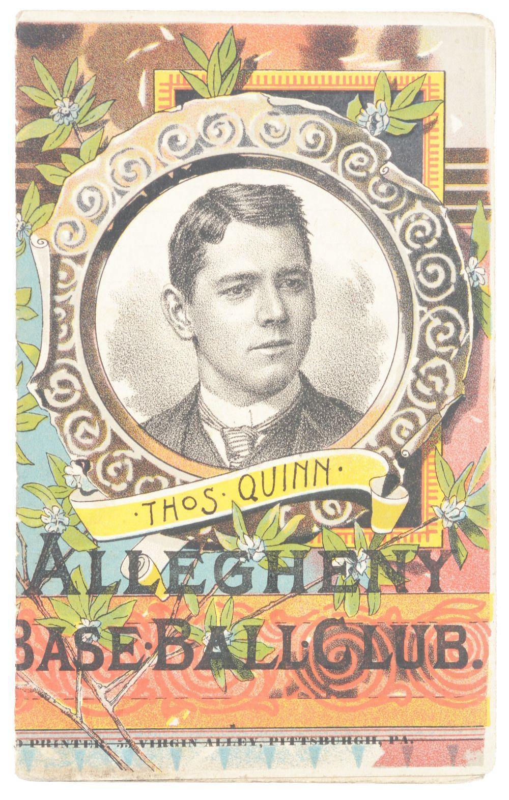 Lot 2031: Very Early Allegheny Baseball Club Scorecard.