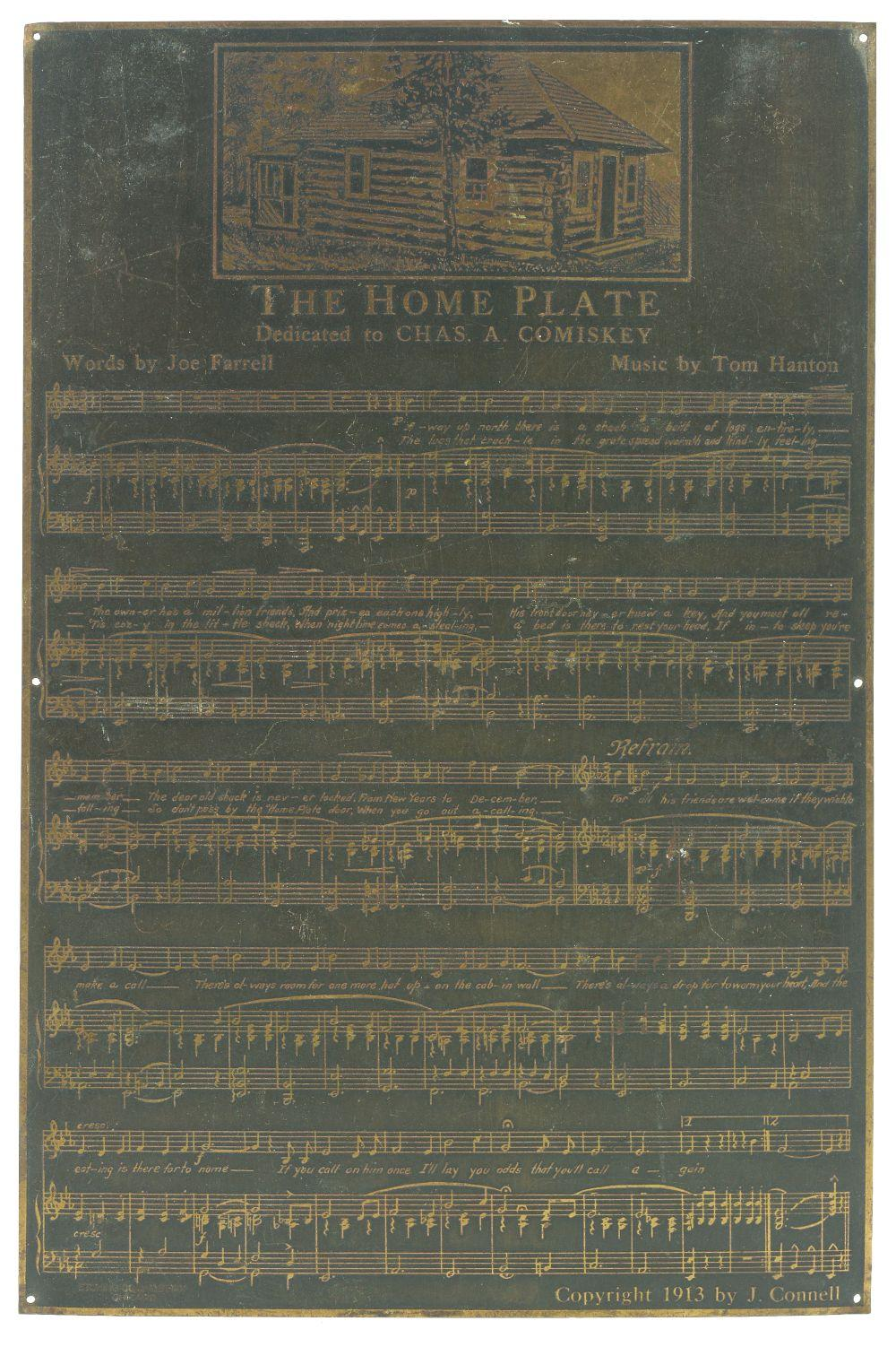 Very Unusual & Unique Charles Comiskey Dedicated Home Plate Metal Sheet Music Piece.