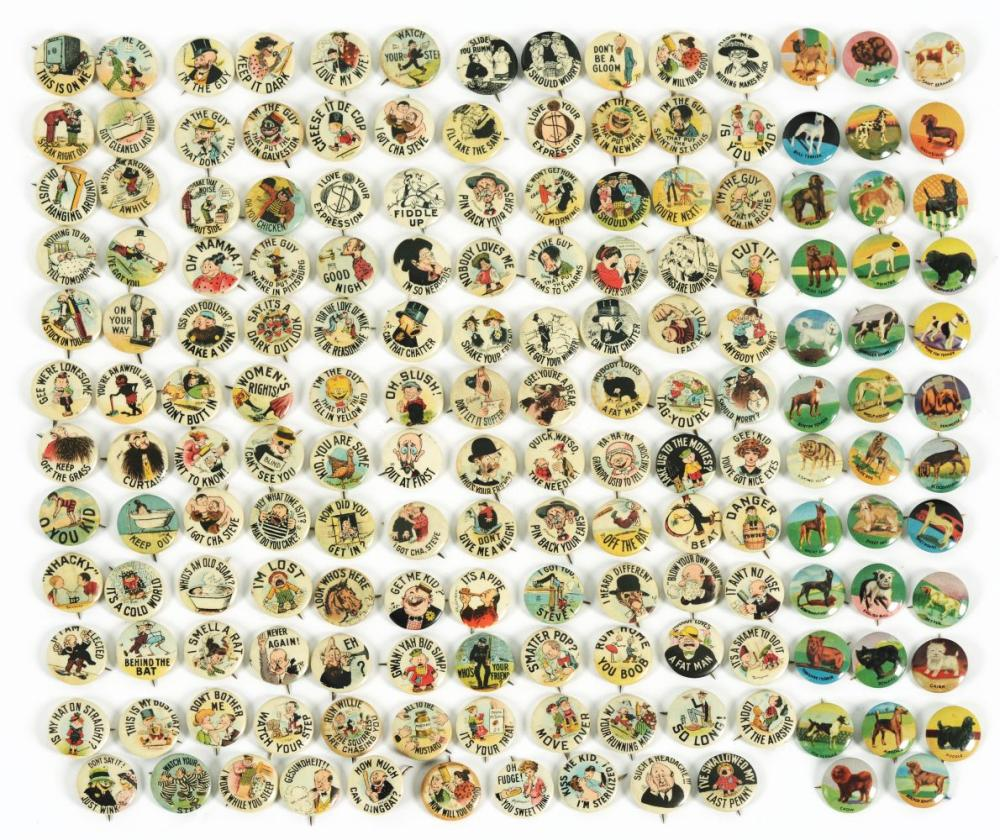 Early 1900s Collection of Over 100 Pin-Back Buttons.