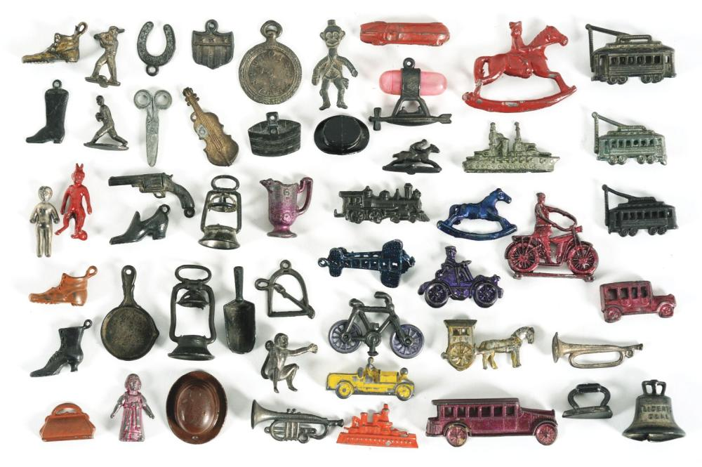 Lot 2050: Collection of Approximately 50 Early Metal Cracker Jack Prizes.