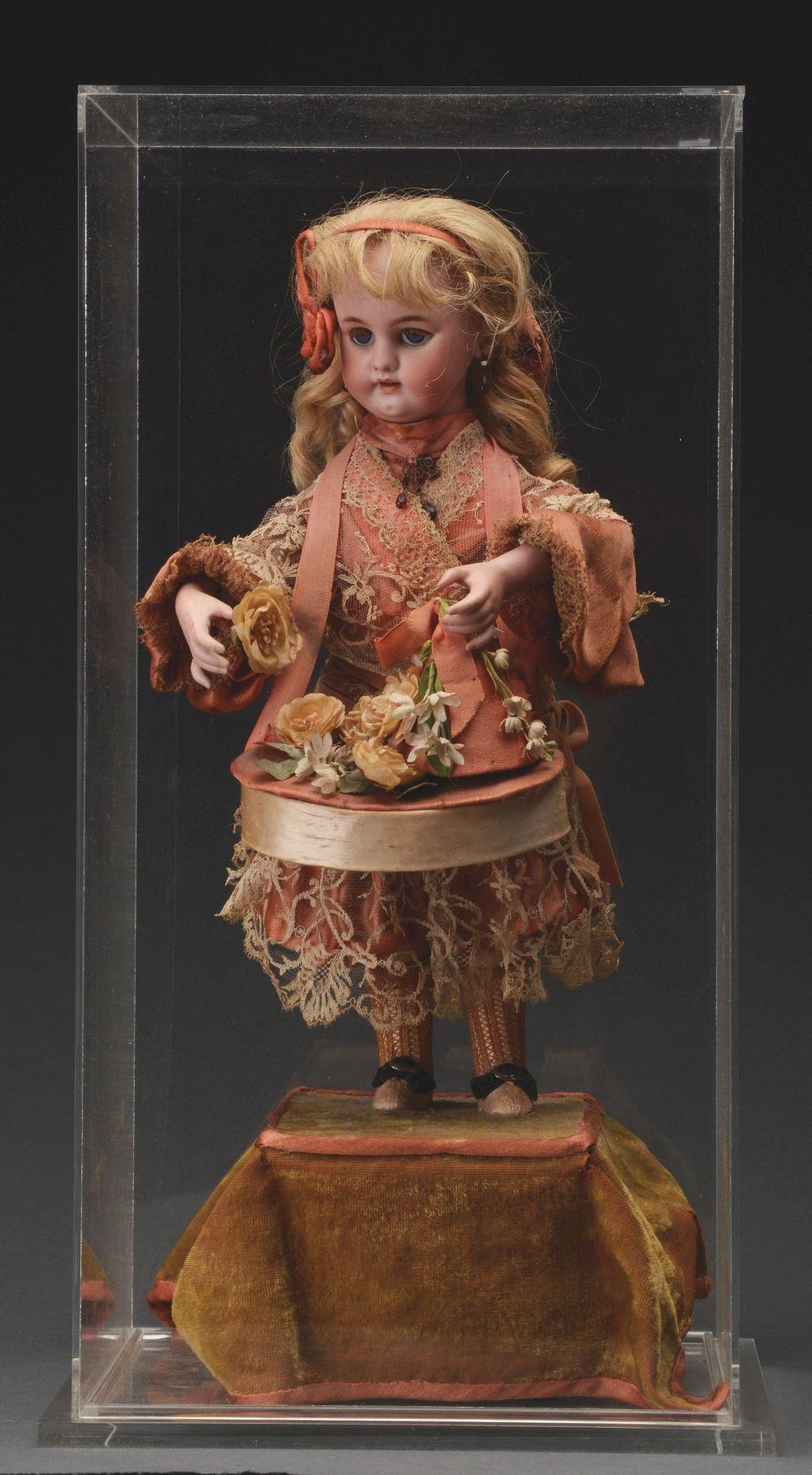 French Musical Automaton Doll in Display Case.