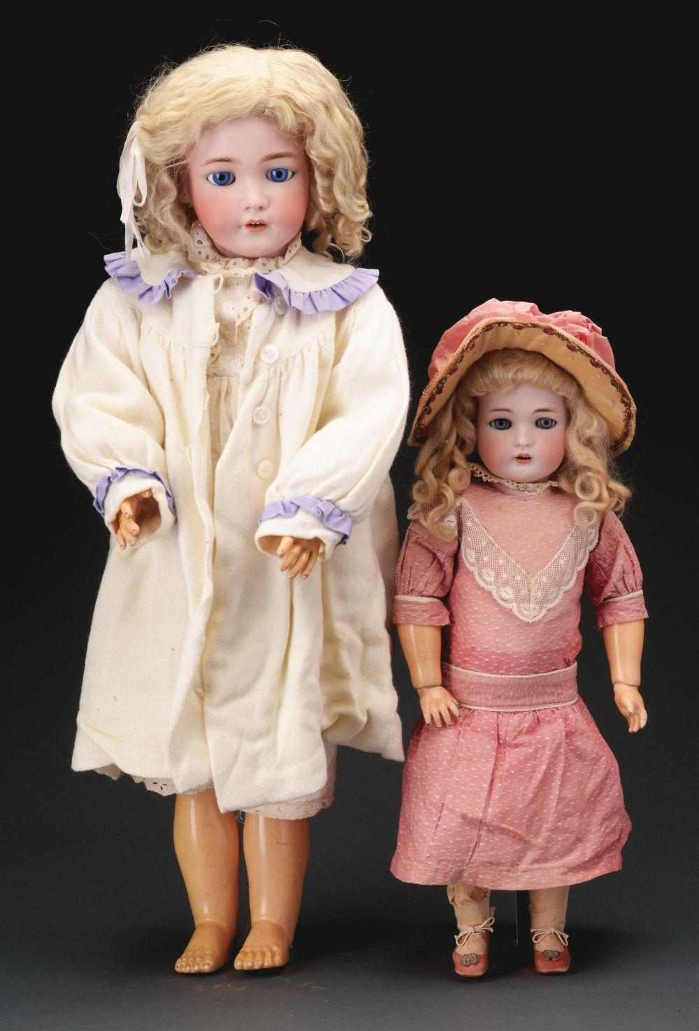 Lot of 2: German Bisque Socket Head Dolls.