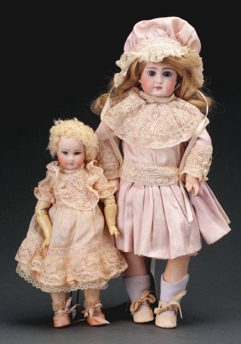Lot 2072: Lot of 2: Belton-Type Bisque Dolls.