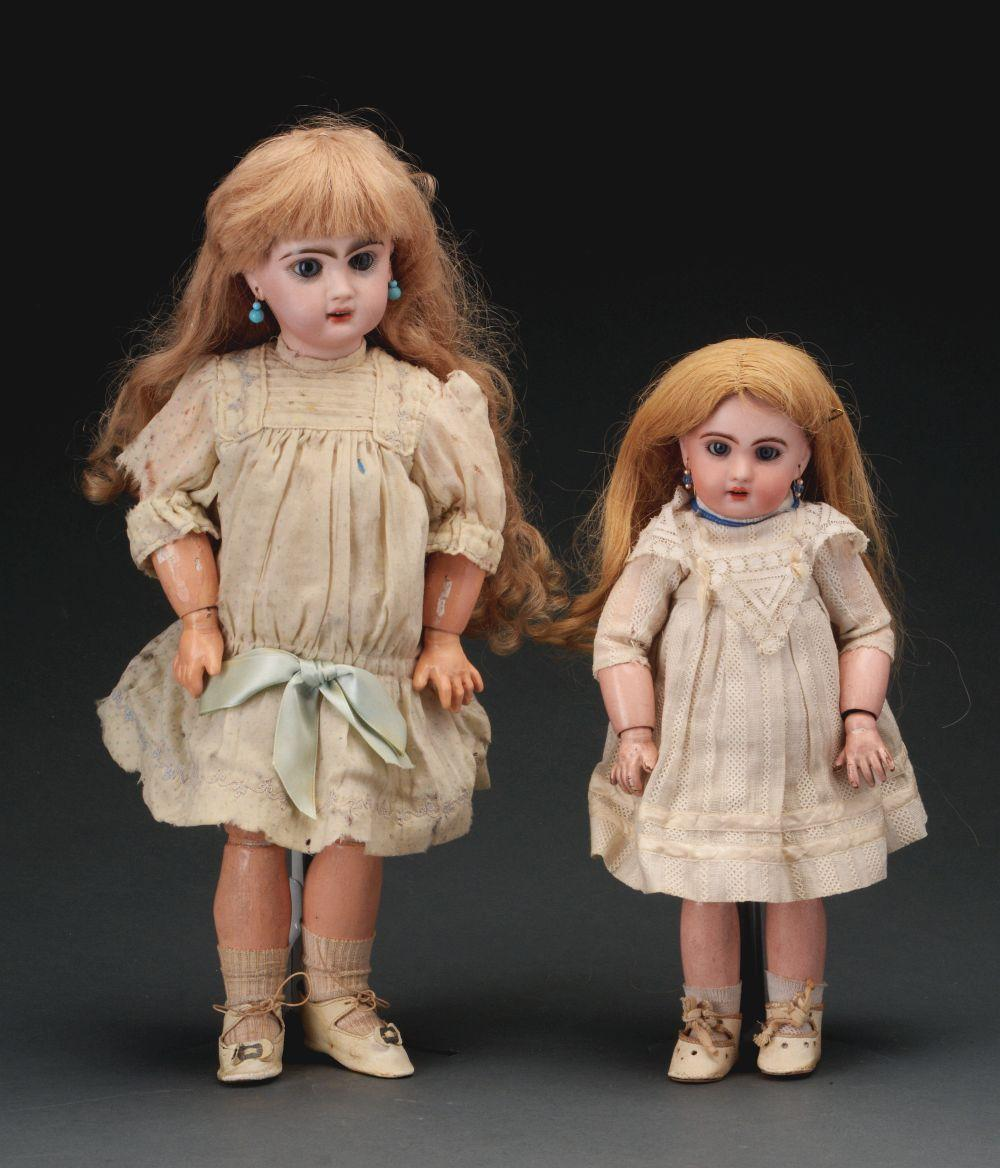 Lot of 2: Open Mouth Jumeaux Dolls.