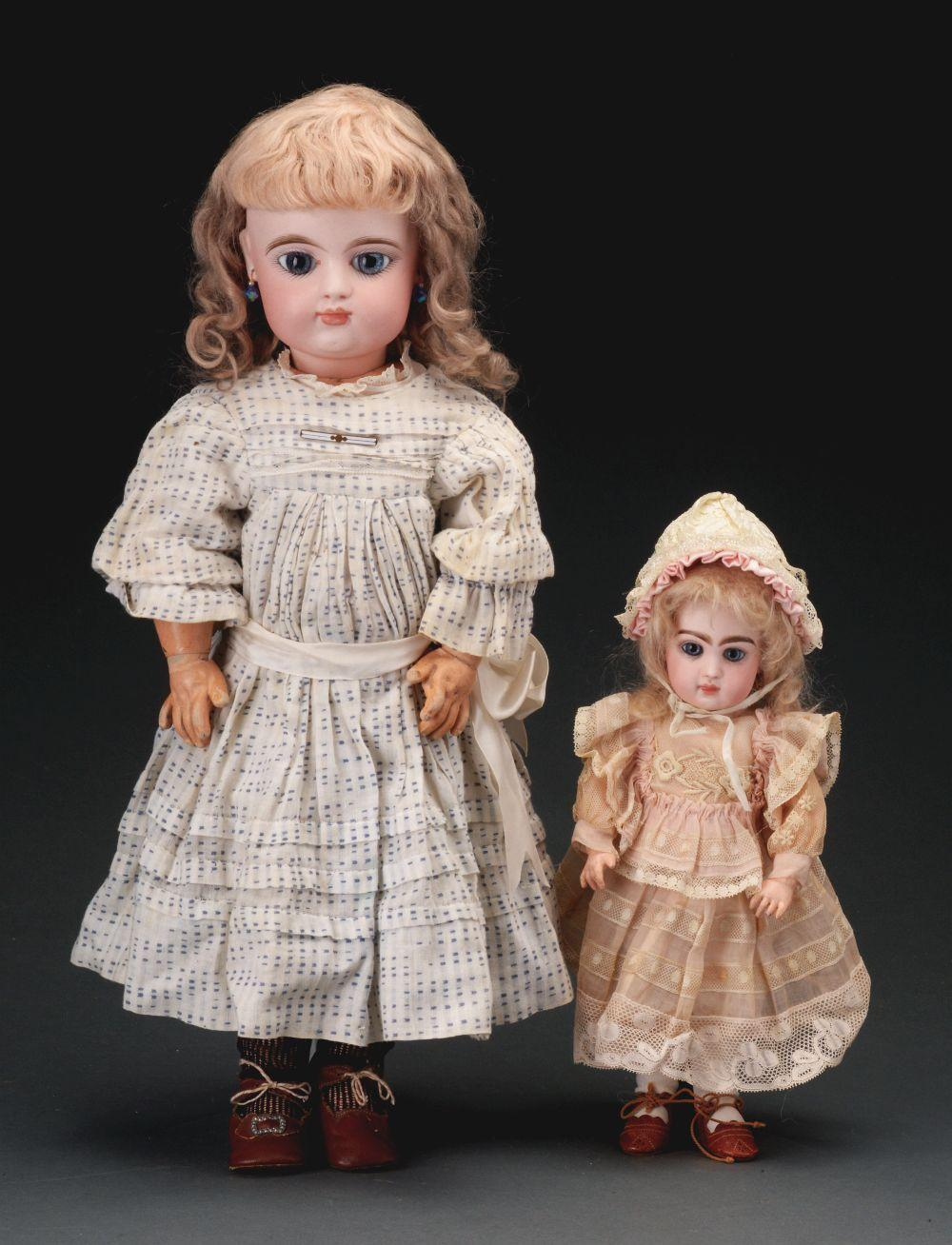 Lot of 2: Closed Mouth French Bisque Dolls.