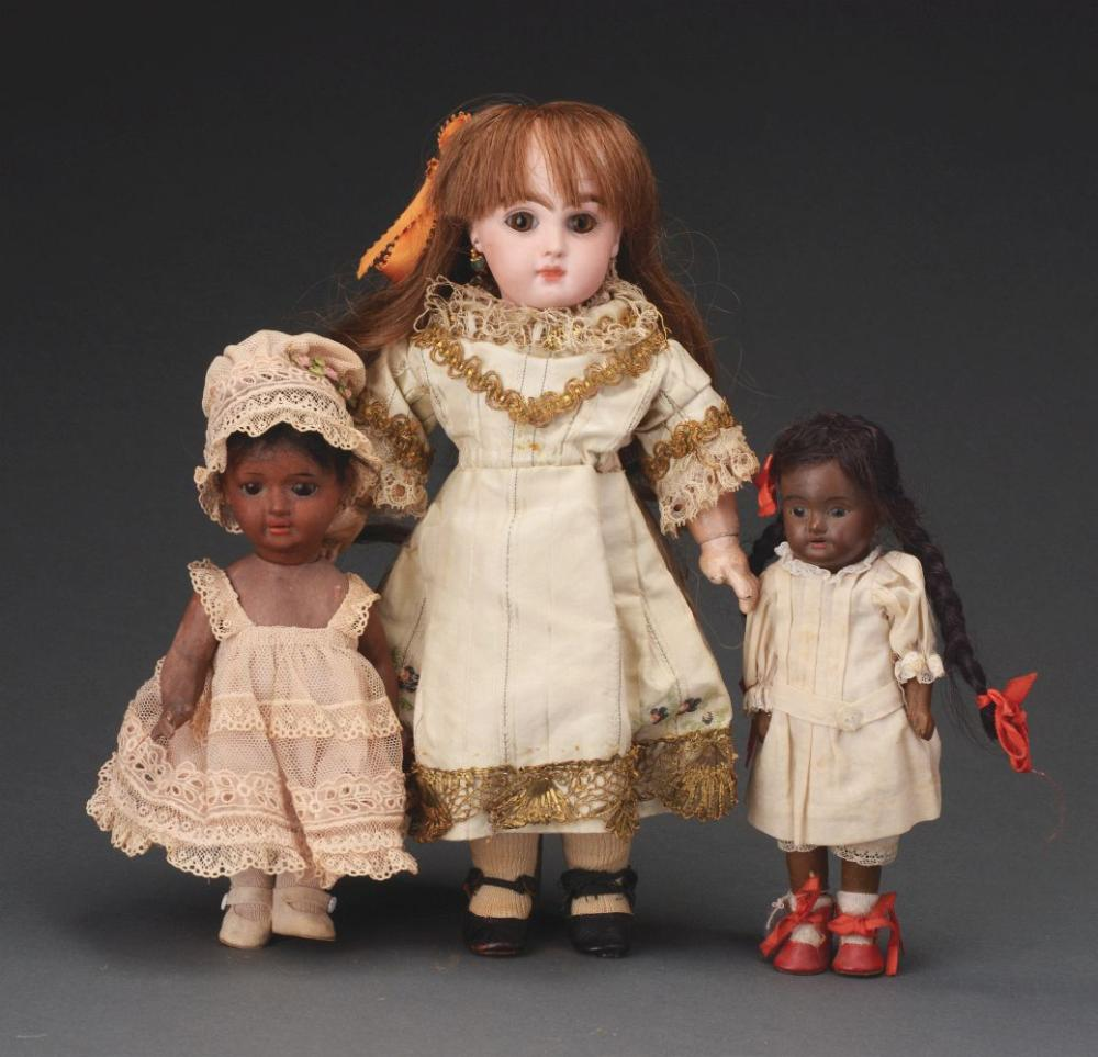 Lot of 3: Assorted Bisque Head Dolls.