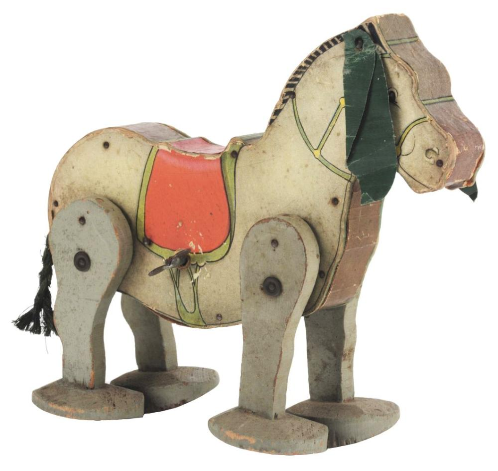 Pre-War Fisher Price Paper on Wood Wind Up Mule Toy.