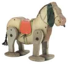 Lot 2082: Pre-War Fisher Price Paper on Wood Wind Up Mule Toy.