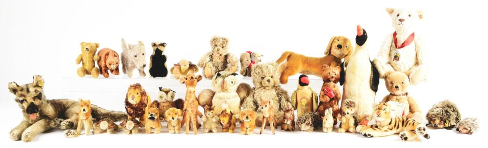 Lot 2084: Large Lot of Stuffed Animals, Primarily Steiff, Consisting of 37 Odd Pieces.