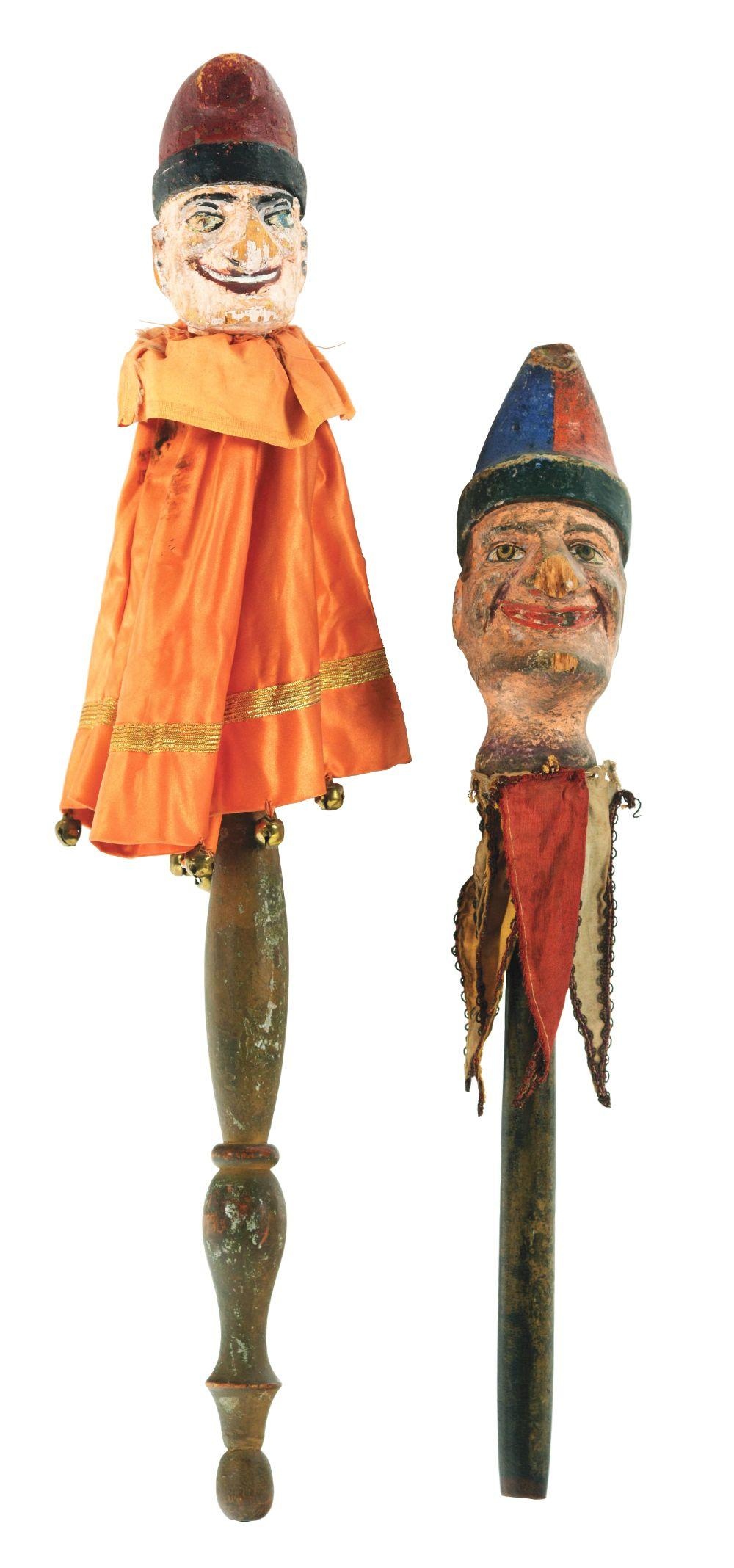 Lot of 2: Punch Wooden Marionettes.