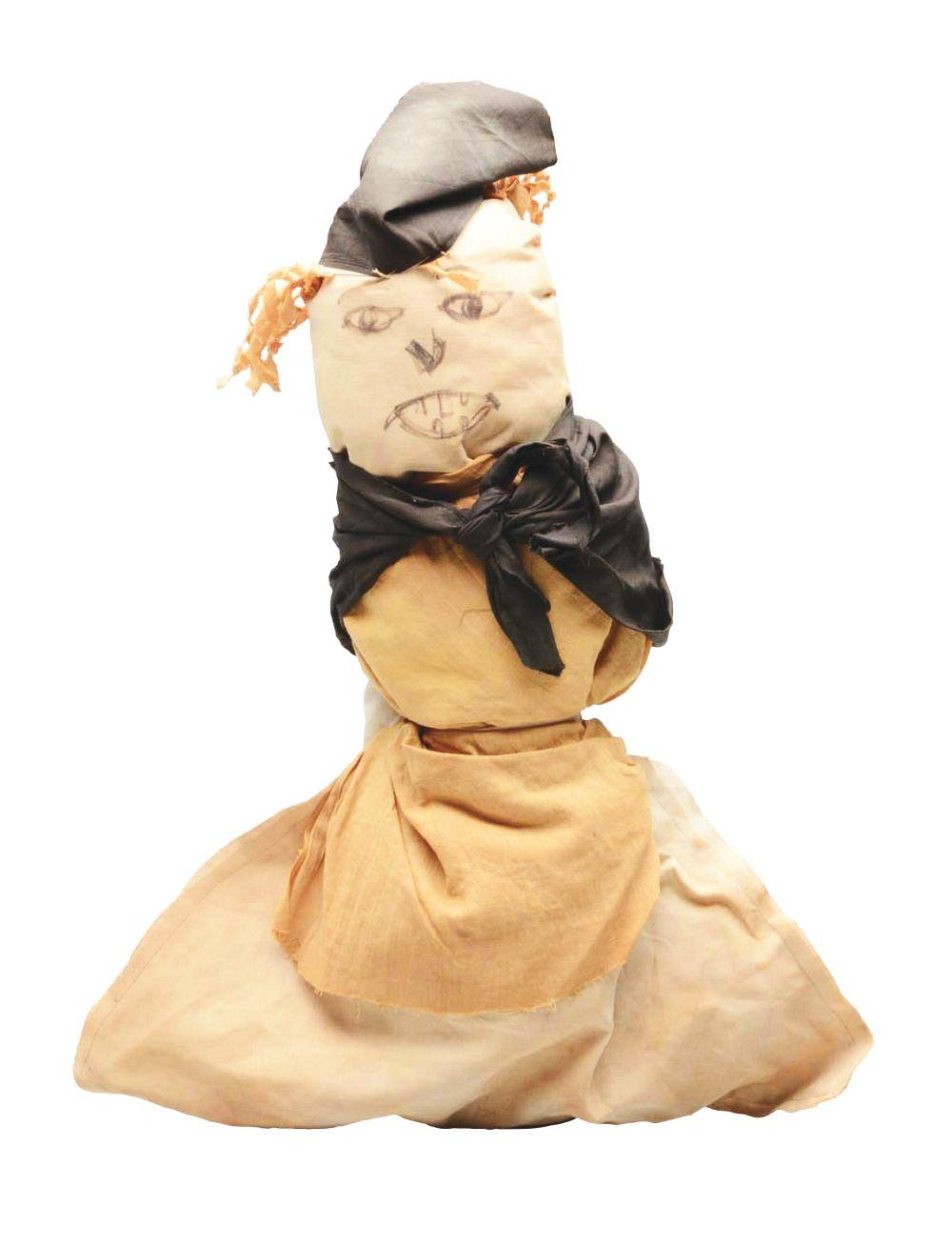 Lot 2091: Early American Folk Art Cloth Witch Doll.