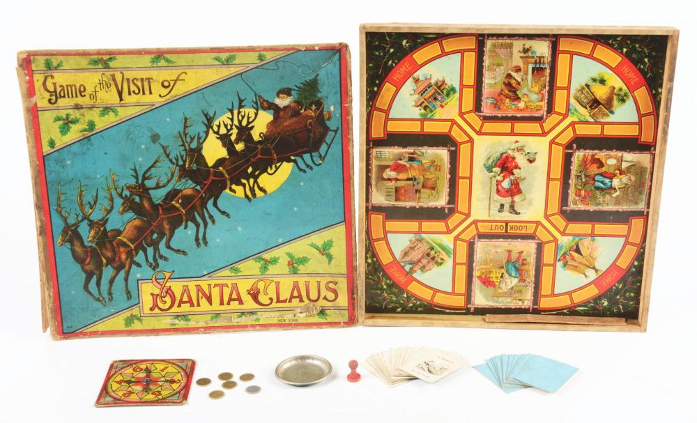 "Lot 2095: Early American Made Game of ""The Visit of Santa Claus""."
