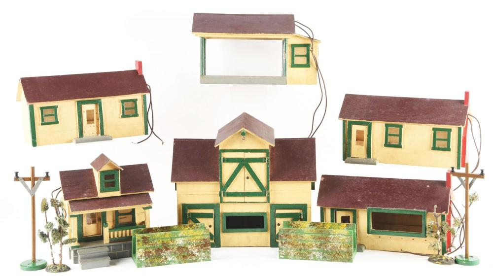 Lot 2101: Lot of Folk Art Toy Buildings & Accessories.