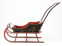 Lot 2103: Early Hand-Painted Goose Neck Children's Sleigh.
