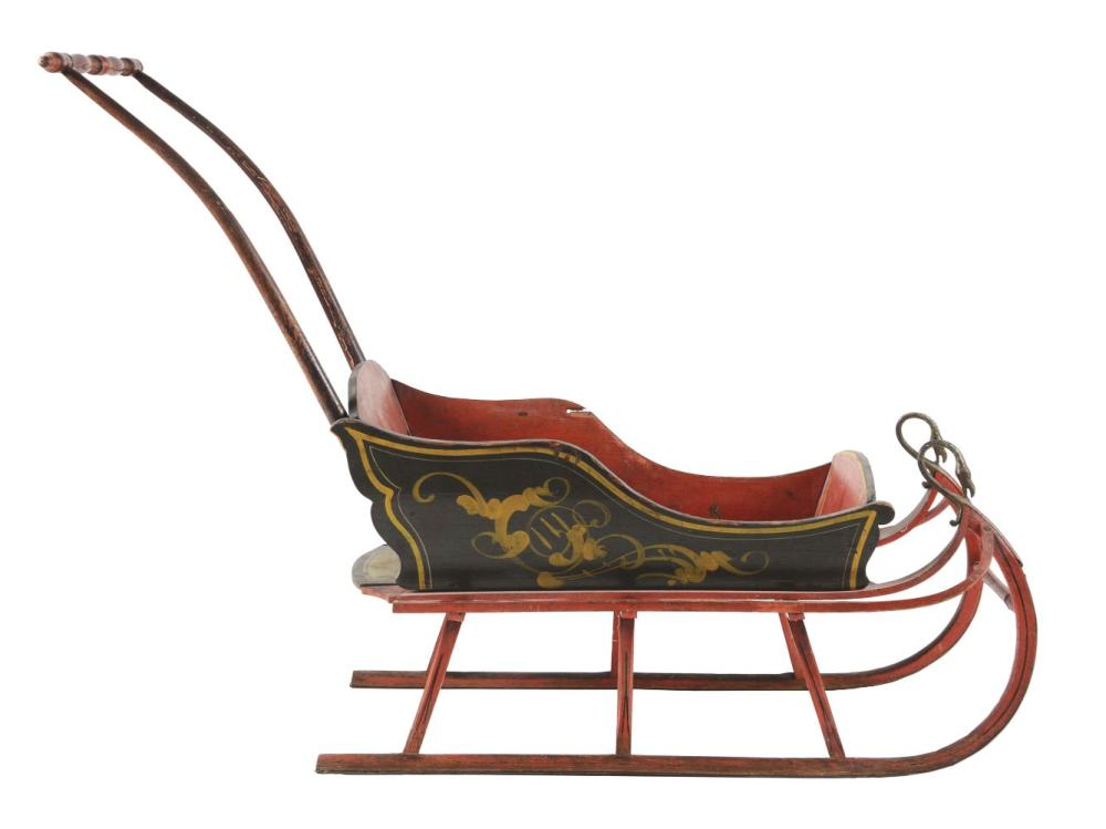 Early Hand-Painted Goose Neck Children's Sleigh.