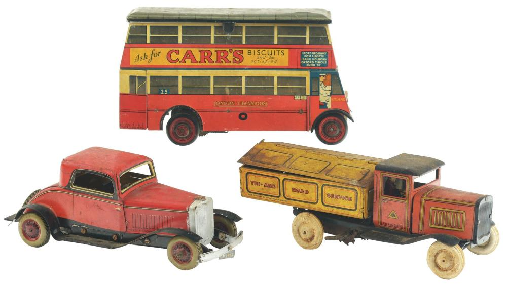 Lot 2112: Lot of 3: Tin-Litho Wind-Up English Transportation Toys.