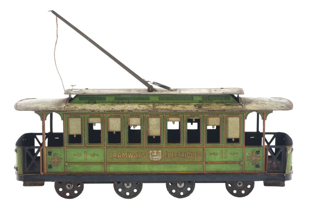 French Tin-Litho Wind-Up Trolley Car Toy.