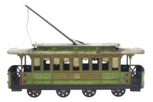 Lot 2110: French Tin-Litho Wind-Up Trolley Car Toy.