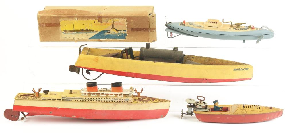 Lot of 4: Various Japanese & English Toy Boats.