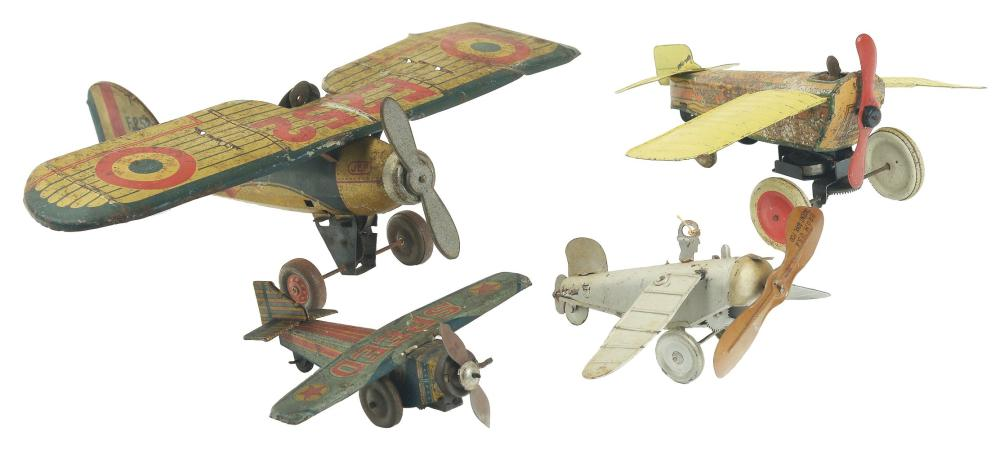 Lot of 4: Various Japanese & European Tin-Litho Wind-Up Airplane Toys.