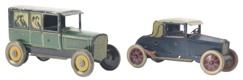Lot 2119: Lot of 2: German Tin-Litho Wind-Up & Flywheel Automobile Toys.