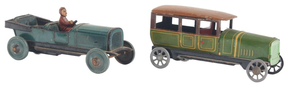 Lot 2117: Lot of 2: German Tin-Litho Nickel-Sized Automobile Toys.