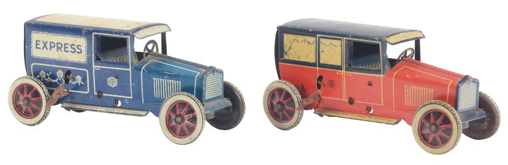 Lot 2118: Lot of 2: German Tin-Litho Wind-Up G&K Automobile Toys.