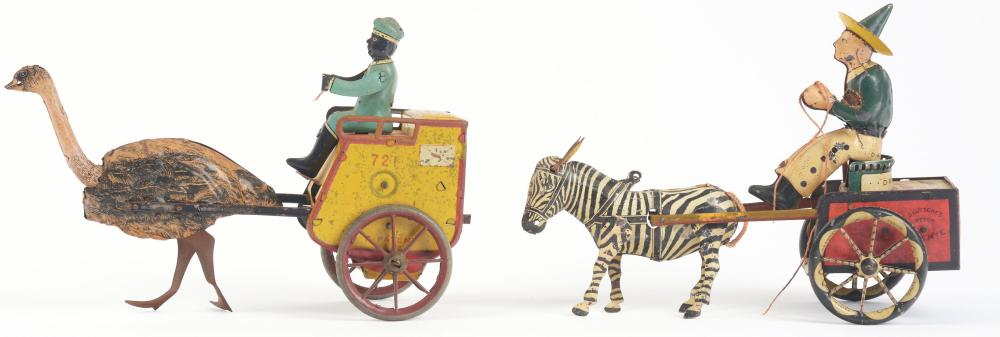 Lot 2123: Lot of 2: German Lehmann Animal-Driven Tin-Litho Wind-Up Cart Toys.