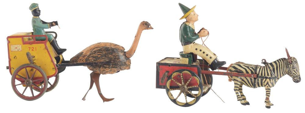 Lot of 2: German Lehmann Animal-Driven Tin-Litho Wind-Up Cart Toys.