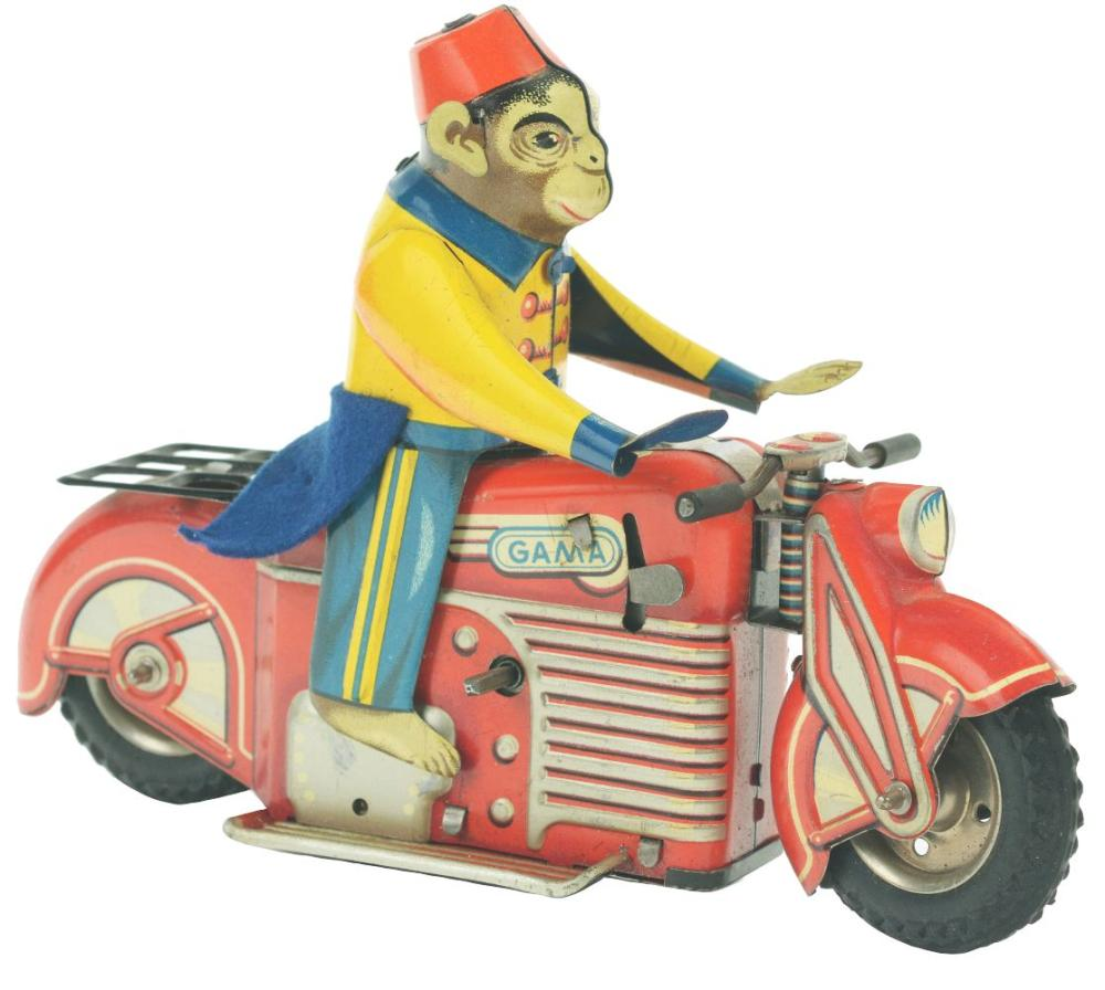 German Gama Tin-Litho Wind-Up Monkey on Motorcycle Toy.