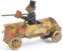 Lot 2130: German Tin-Litho Wind-Up Uncle Wiggily's Crazy Car.