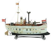 Lot 2136: Tin Clockwork Contemporary Gun Boat.