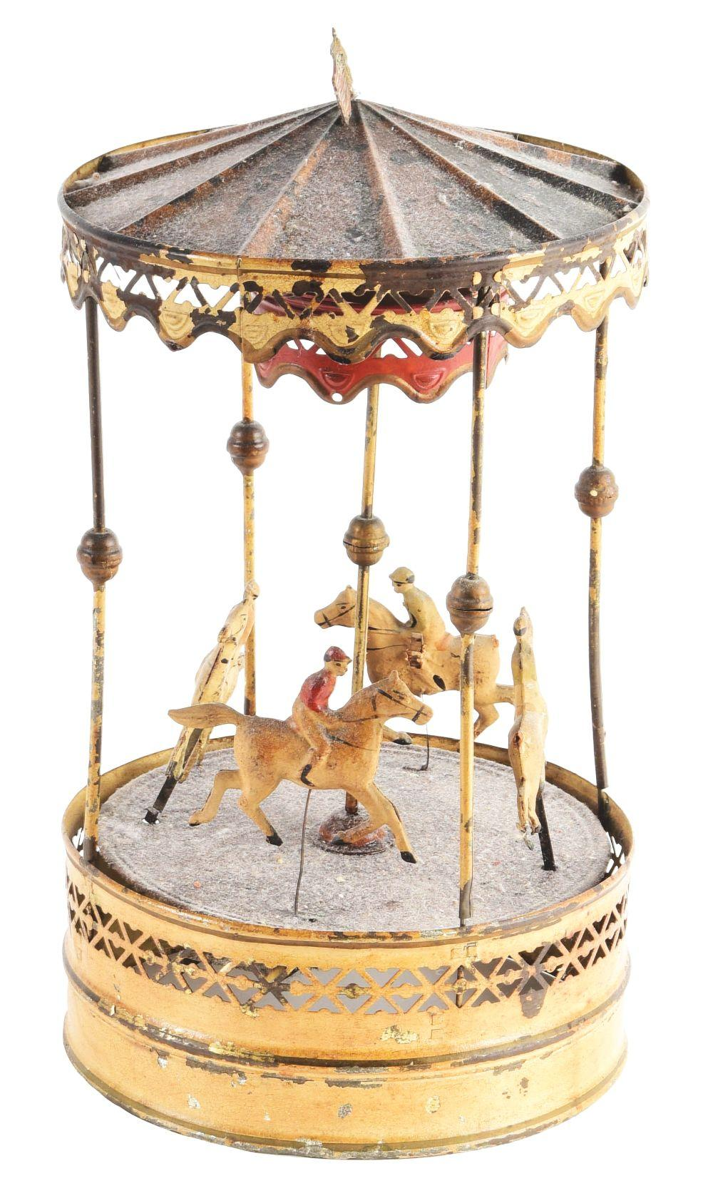 German Tin Hand-Painted Carousel Toy.