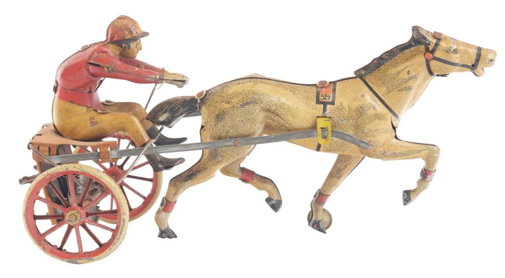 German Tin-Litho Wind-Up G&K Horse-Drawn Racing Toy.