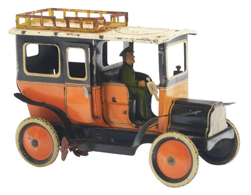 German Tin-Litho G&K Taxi Toy.