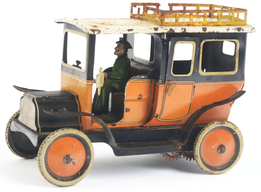 Lot 2138: German Tin-Litho G&K Taxi Toy.