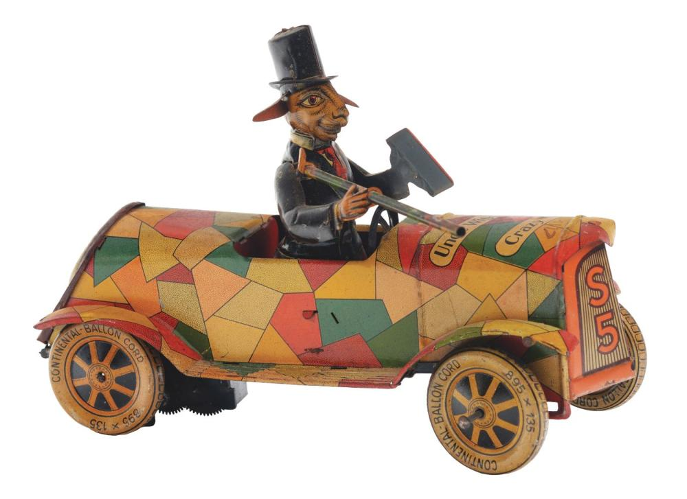 German Tin-Litho Wind-Up Uncle Wiggily's Crazy Car.