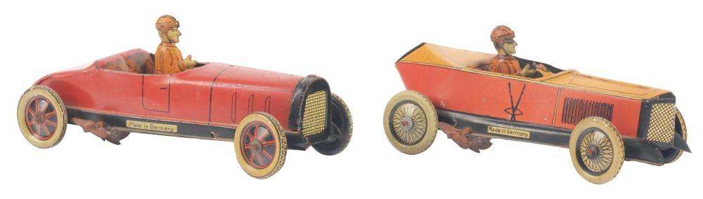 Lot 2141: Lot of 2: German Tin-Litho G&K Race Car Toys.